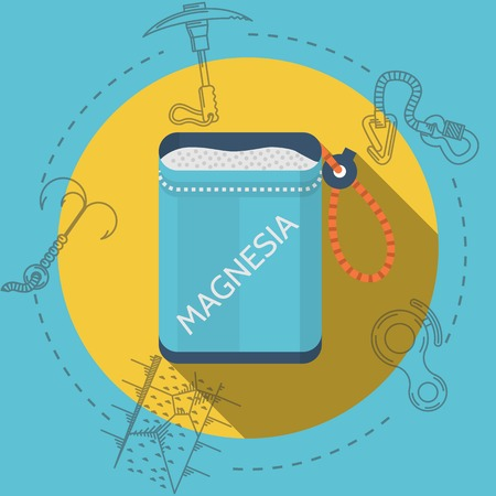 magnesium: Blue bag with magnesium on yellow icon with gray contour outfit elements around. Flat color vector illustration for rock climbing on blue background. Long shadow design