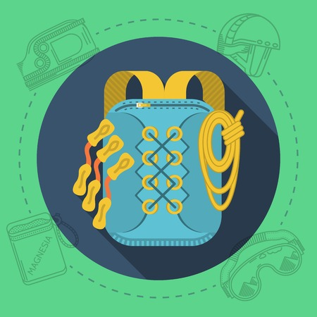 magnesia: Blue rucksack with yellow straps, quickdraws and rope on round blue icon with gray contour outfit elements around. Flat color vector illustration for rock climbing on green background. Long shadow design Illustration