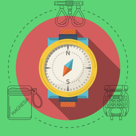 Classic compass with yellow frame on red icon with black contour outfit elements around. Flat color vector illustration for rock climbing on green background. Long shadow design Çizim
