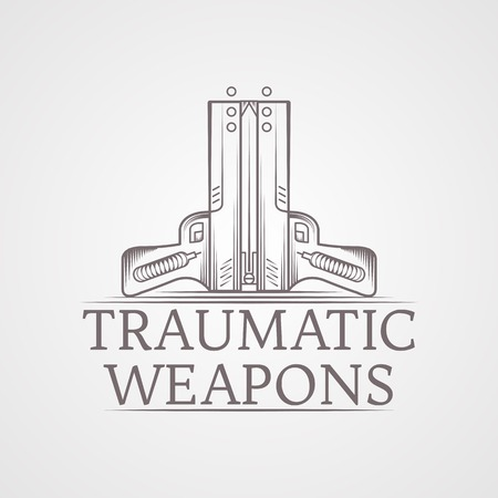 traumatic: Design elements with gray vintage line style two traumatic pneumatic guns vector illustration for self defense with words Traumatic Weapons Illustration