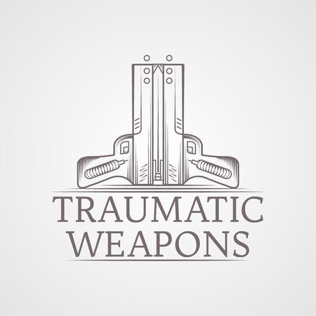 self defense: Elementos del dise�o con estilo gris l�nea vendimia dos pistolas neum�ticas traum�ticas ilustraci�n vectorial para la autodefensa con palabras traum�ticas Armas