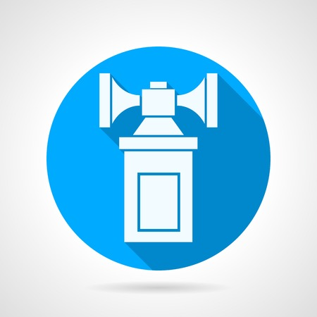 air demonstration: Single round blue vector icon with white silhouette double air horn on gray background. Long shadow design