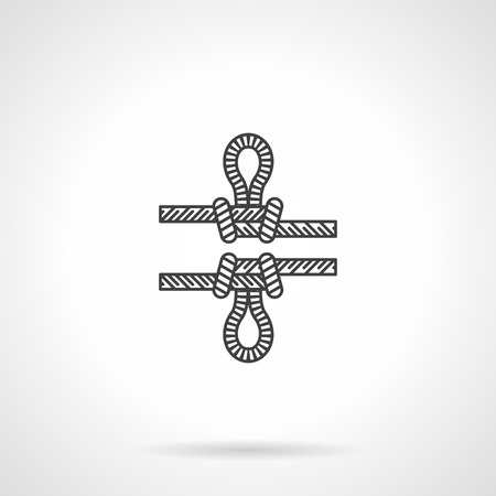 rappelling: Flat line vector icon for rope knot with loop for rock climbing on white background. Illustration
