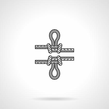 rope ladder: Icono Flat vector l�nea de nudo de la cuerda con el lazo de la escalada en roca en el fondo blanco.