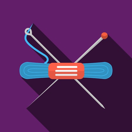 skein: Flat color vector icon for skein of blue thread with two knitting needles for handmade on purple background. Long shadow design