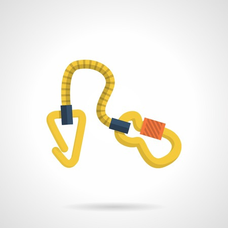 Flat color vector icon for gear with carabiners for rock climbing on white background. Vector
