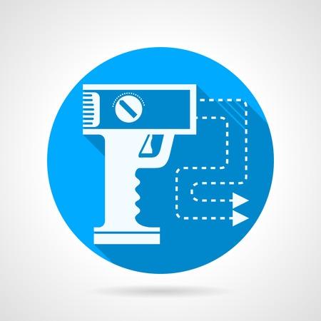 self defense: Icono azul de vector ronda con blanco pistola silueta de aturdimiento para la autodefensa en el fondo gris. Dise�o plano con la sombra.
