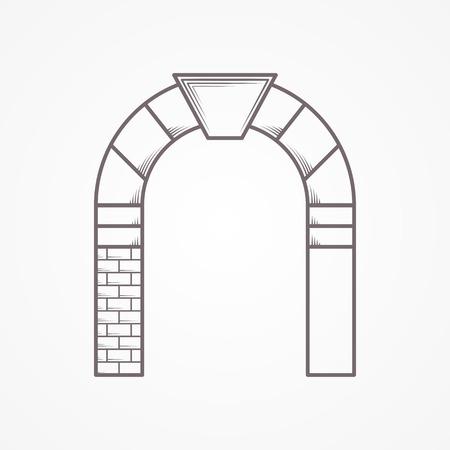 白い背景にキーストーンと半円アーチの平坦線ビンテージ デザイン抽象的なベクトル アイコン。  イラスト・ベクター素材