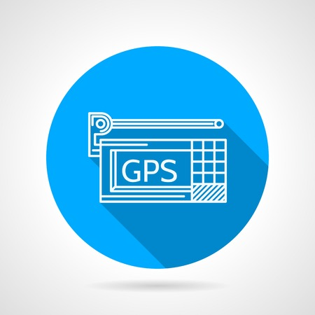 gps device: Flat line vector icon with white contour GPS navigation device on white background. Long shadow design