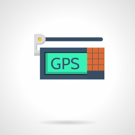 gps device: Flat color vector icon for GPS navigation device with antenna on white background.