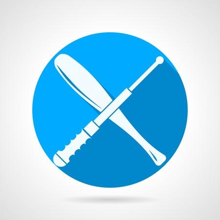 estafette stokje: Blauwe ronde vector pictogram met wit silhouet gekruist honkbalknuppel en stokje voor zelfverdediging op een grijze achtergrond. Platte ontwerp met schaduw.