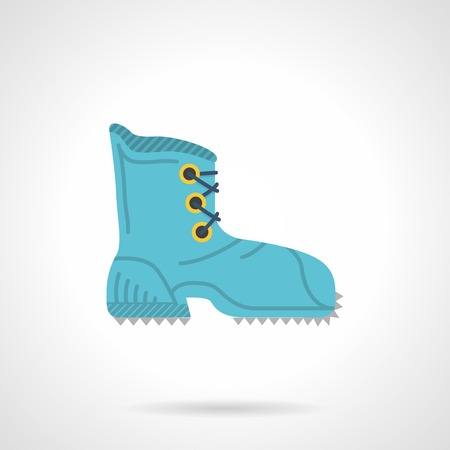 hike: Blue vector icon for hike shoe with laces on gray background. Illustration