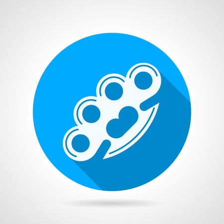 knuckles: Blue round vector icon with white silhouette brass knuckles on gray background. Flat design with shadow.