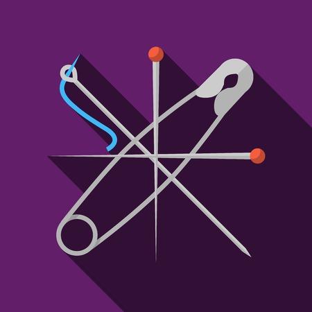 #36263963   Wohnung Farbe Vektor Symbol Für Gekreuzt Grau Stifte Und Nadel  Auf Lila Hintergrund. Lange Schatten Design.