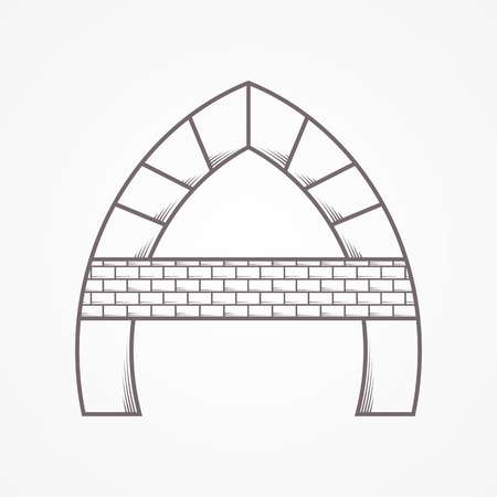 Flat line gray vector icon for lancet arch with brick horizontal partition on gray background. Illustration