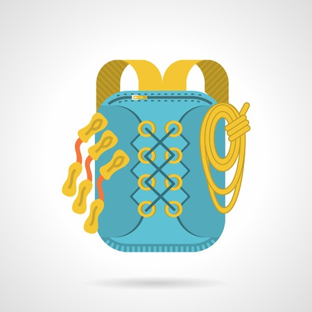 straps: Flat color vector icon for blue hike bag with yellow straps on gray background. Illustration