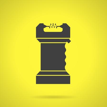 self defense: Piso icono vector silueta negro para la auto defensa arma Taser en fondo amarillo. Vectores