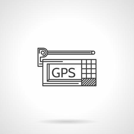 gps device: Flat line black vector icon for GPS navigation device with antenna on gray background.