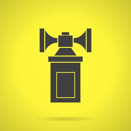 strident: Flat black silhouette vector icon for air horn for self defense or fan on yellow background.