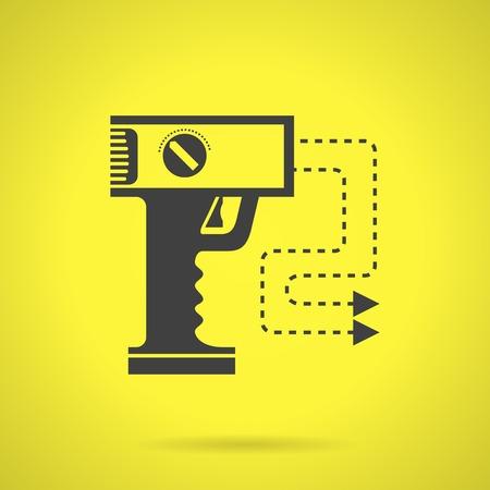 defensa personal: Piso icono negro silueta del vector de la pistola de aturdimiento de la autodefensa en fondo amarillo. Vectores