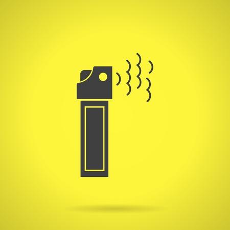 self defense: Piso icono negro silueta del vector de lata de aerosol con pimienta gases lacrim�genos para la autodefensa en fondo amarillo.