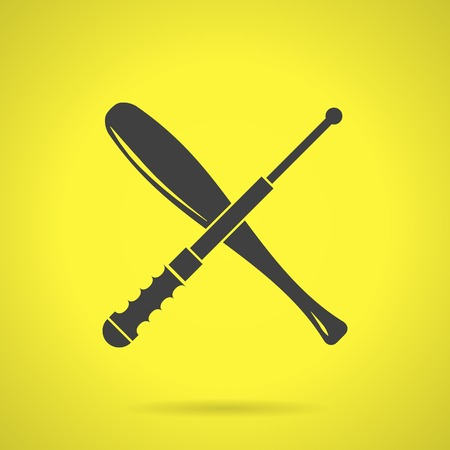 nightstick: Flat black silhouette vector icon for crossed baseball bat and telescopic baton for self defense on yellow background.