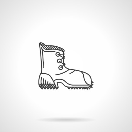 hike: Flat black line vector icon for contour shoe for hike on white background.