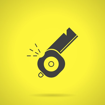 shrill: Flat black silhouette vector icon for whistle on yellow background.