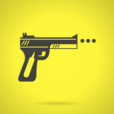 pneumatic: Flat black silhouette vector icon for air gun for sport or self-defense on yellow background.