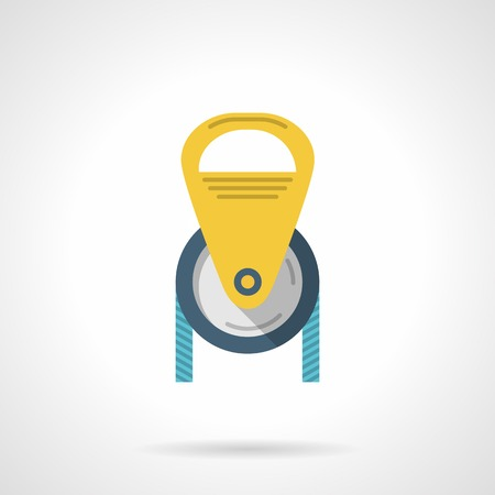 extreme close up: Flat colored vector icon for climbing or construction yellow pulley with blue cord on white background.