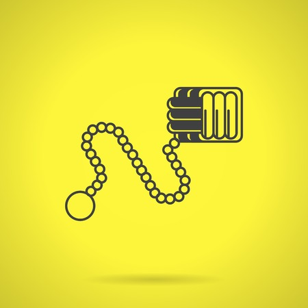 traumatic: Flat black silhouette vector icon for monkey fist with chain for self-defense on yellow background.