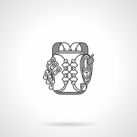 haversack: Flat black line vector icon for hike or climbing backpack on white background.