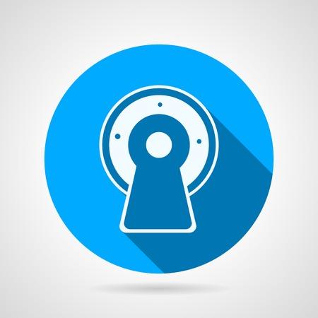 mri: Flat circle blue vector icon white silhouette MRI equipment on gray background. Long shadow design Illustration