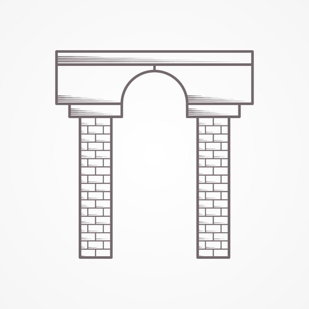 Flat sketch vector icon for arch on white background. Vector