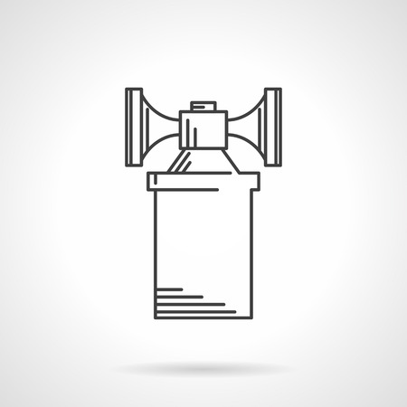 decibel: Flat sketch vector icon for air horn on white background.