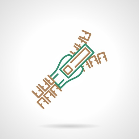 fastening: Flat brown and green line vector icon for zipper on white  background. Illustration