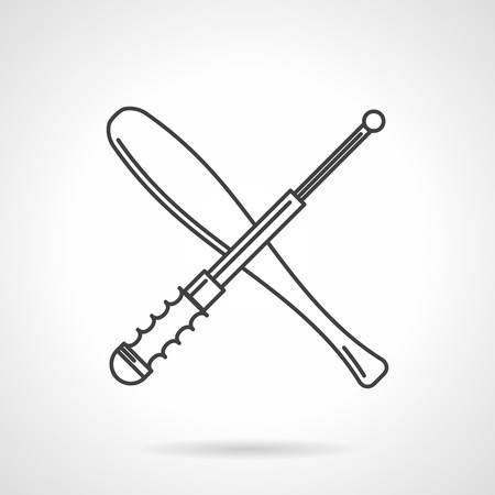 telescopic: Flat black line vector icon for crossed baseball bat and telescopic baton on white background. Illustration