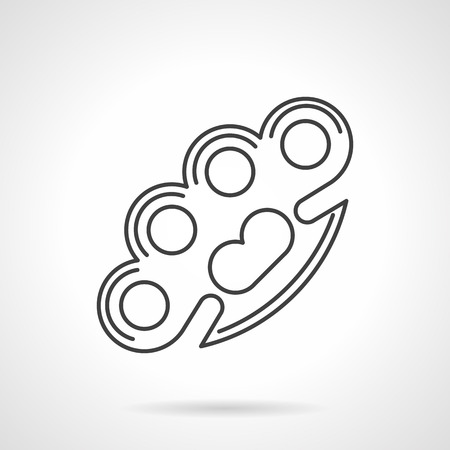 knuckles: Flat black line vector icon for brass knuckles on white background. Illustration