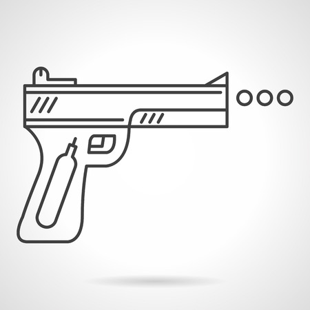 traumatic: Flat black line vector icon for traumatic air gun for self-defense or sport on white background.