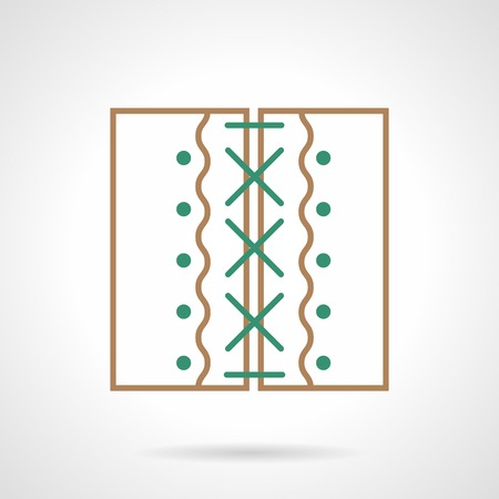 white patches: Flat brown and green line abstract vector icon for two stitched patches on white  background.