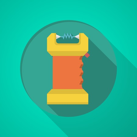 amperage: Orange and yellow color electroshock flat icon on green background with long shadow design. Illustration