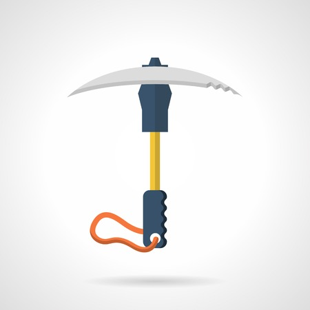 ice axe: Flat colorful vector icon for portable ice axe or pick on white background.