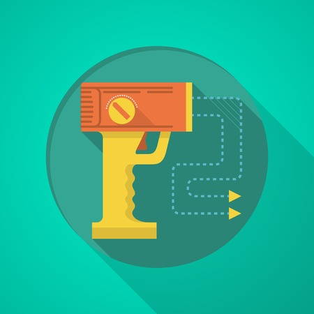 traumatic: Orange and yellow color stun gun flat icon on green background with long shadow design. Illustration
