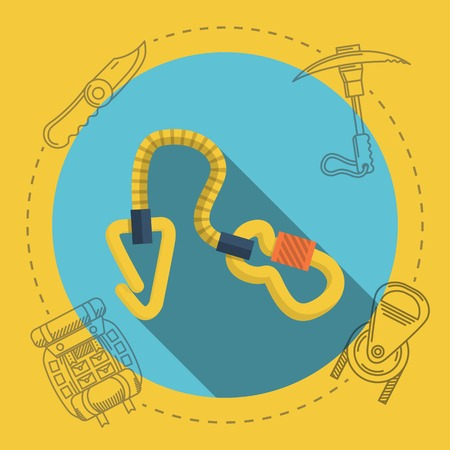 Yellow climbing gear on blue icon with gray contour outfit elements around. Flat color vector illustration for rock climbing on yellow background. Long shadow design