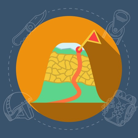 rope way: Colored abstract stoned mountain with glacier and with flag  target of climbing route on orange icon with gray contour outfit elements around. Flat color vector illustration for rock climbing on dark blue background. Long shadow design Illustration
