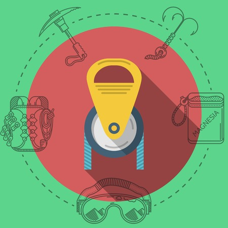 pulley: Yellow pulley with blue cord on pink icon with gray contour outfit elements around. Flat color vector illustration for rock climbing on green background. Long shadow design