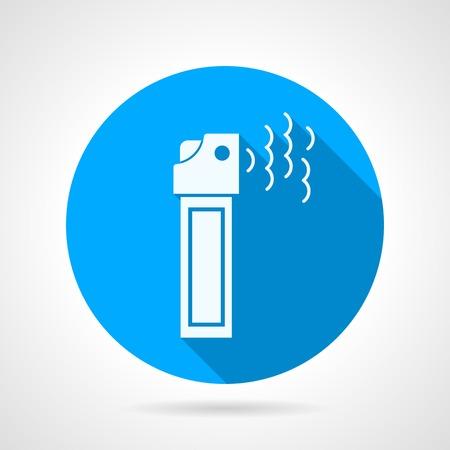 self defense: Icono azul de vector ronda con blanco lata de gas silueta con pimienta para defensa personal en el fondo gris. Dise�o plano con la sombra. Vectores