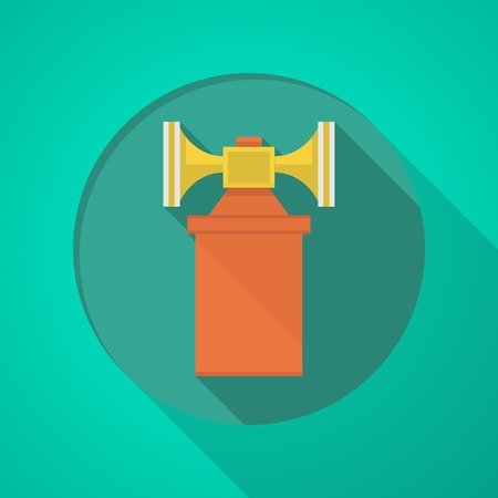 vuvuzela: Orange and yellow color air horn flat icon on green background with long shadow design. Illustration