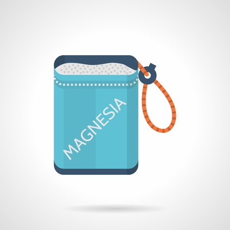 Flat colorful vector icon for portable blue bag with magnesium for rock climbing on white background.