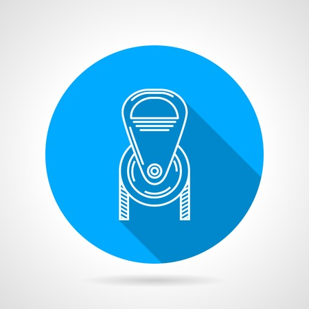 descender: Flat round blue vector icon with white contour climbing or construction pulley on gray background. Long shadow design